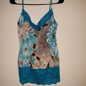 Blue and brown tank top